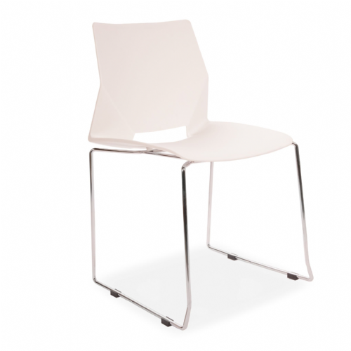 x4 All Square Stackable Plastic Dining Chairs, White